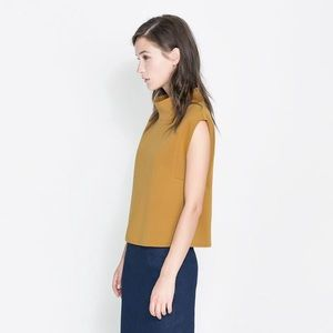 Zara Neoprene Scuba Top In Mustard